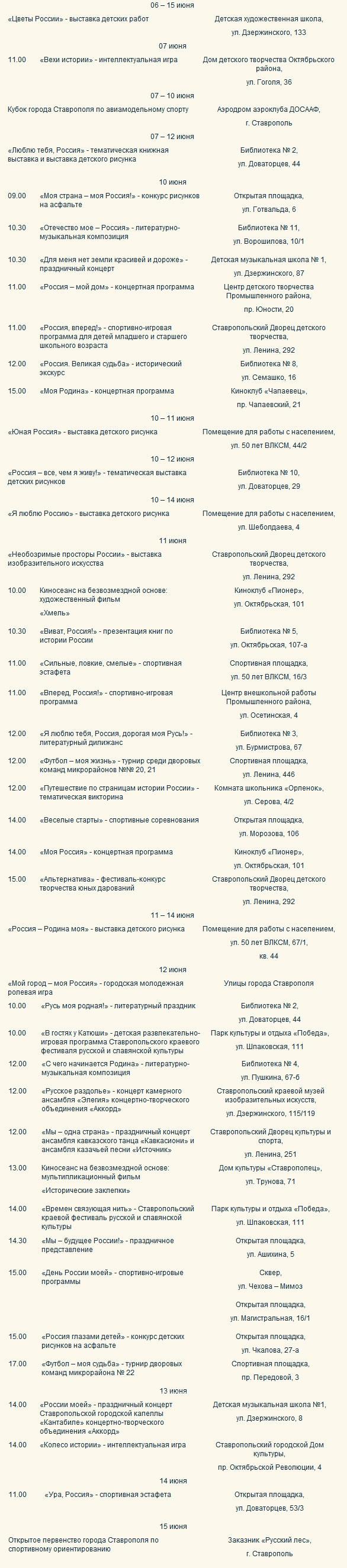 Программа мероприятий в городе Ставрополе, посвященных Дню России 12.06.2013